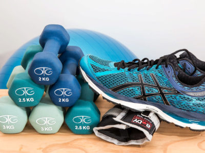 weights and running shoes